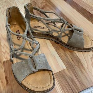 Pikolinos Tan Suede Gladiator Sandals Size 9